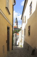 Architecture in historical center of Cesky Krumlov.