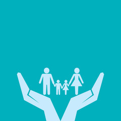 secure or save family under hand concept vector
