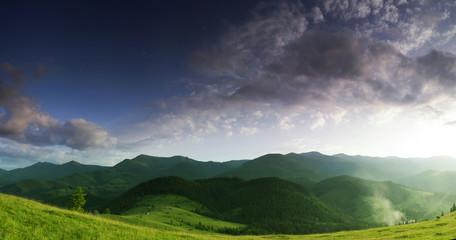 evening mountain plateau landscape (Carpathian, Ukraine)
