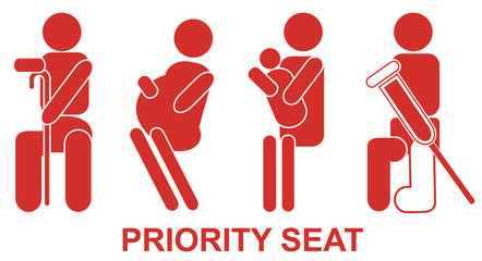 Priority seats, sign