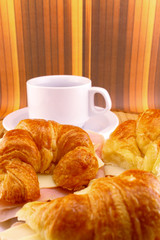 Coffee with croissants snack