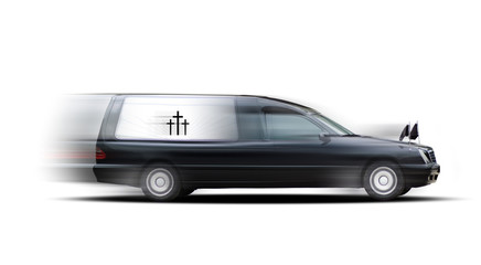 Bestattungswagen in Bewegung