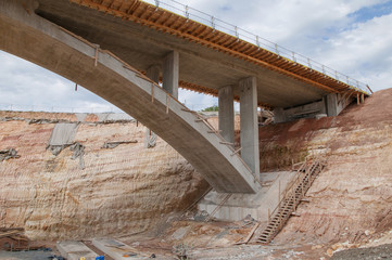 Bridge motorway construction site