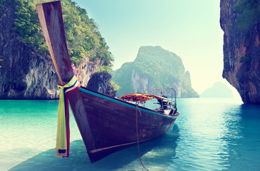 boat and islands in andaman sea Thailand
