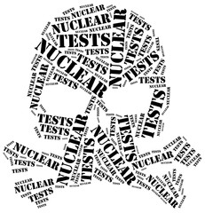 Word cloud illustration related to nuclear tests