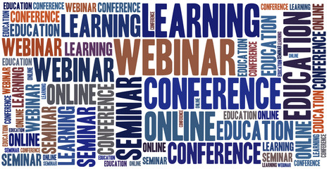 Word cloud illustration related to webinar or e-learning
