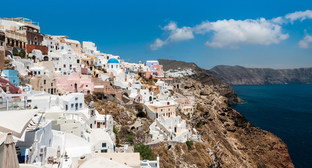 Houses on the hillside in the the Greek island of Santorini
