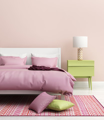 Contemporary fresh elegant pink bedroom with rug