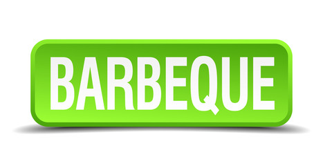 barbeque green 3d realistic square isolated button