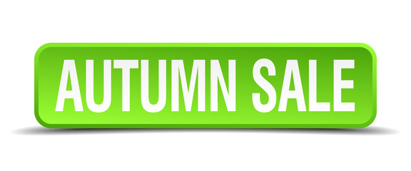 autumn sale green 3d realistic square isolated button