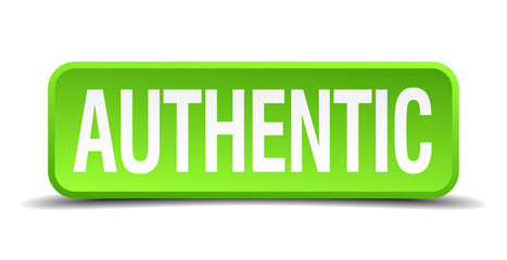 authentic green 3d realistic square isolated button