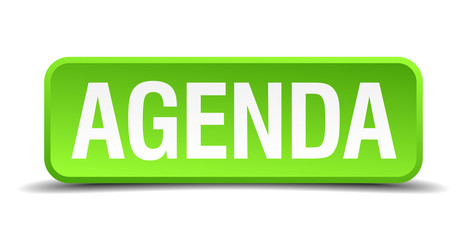 Agenda green 3d realistic square isolated button