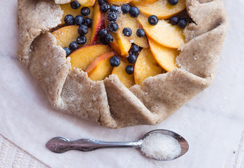 cooking biscuits with peach and blueberry