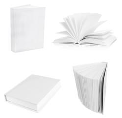 Collage of white empty books