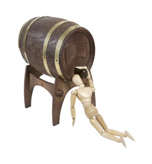 Drinking Straight from a Wooden Barrel on Stand