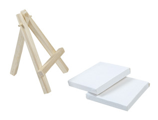 Easel with Fallen Canvases