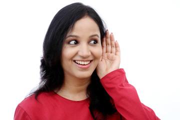 Young woman listening gossip