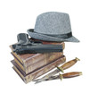 Murder Mystery Books Gun Knives Hat