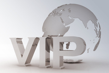 VIP abbreviation with a globe. 3D text on white background