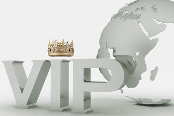 VIP abbreviation with a crown. 3D text on globe background