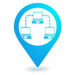 intranet réseau informatique sur symbole localisation bleu