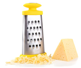 Metal grater and cheese isolated on white