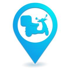scooter de livraison sur symbole localisation bleu