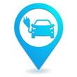 véhicule électrique sur symbole localisation bleu