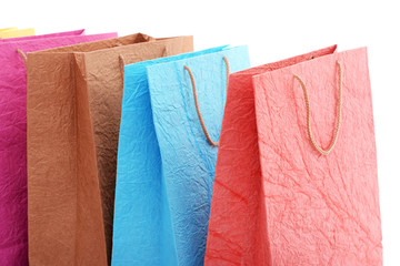 Paper shopping bags close up