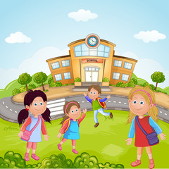 Illustration of a Group of School Children