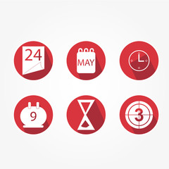 Main icons Set of time, with hourglass, clock etc. - red