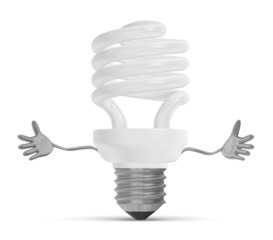 Welcoming spiral light bulb character
