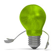 Green tungsten light bulb character making inviting gesture