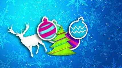 Blue Merry Christmas Art Paper Card
