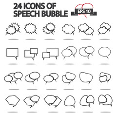 Set of Message bubble icons / Line Art Version