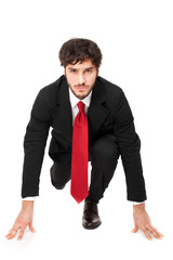 Businessman in a starting position