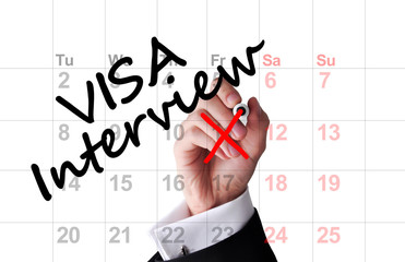 Visa interview date on calendar