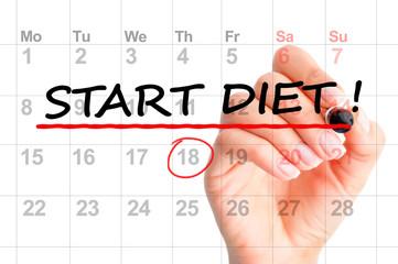 Start diet today text