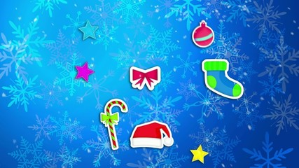 Christmas Ornament Blue Background Loop Animation
