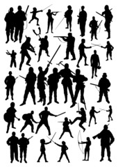 Silhouette of Fighting People