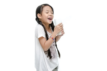 Little asian girl drinking milk