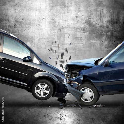 Leinwanddruck Bild Auto Unfall