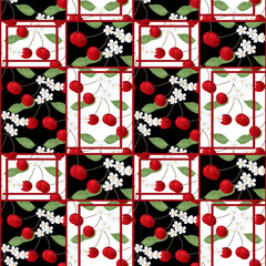 Patchwork abstract seamless floral cherry pattern background