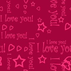 Seamless pattern wallpaper valentine with hearts and text