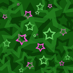 Seamless green pattern with stars