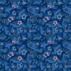Seamless blue pattern with stars