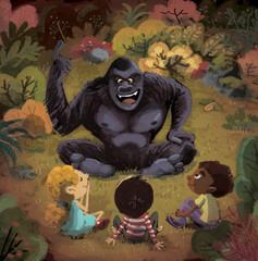 gorila hablando con niños