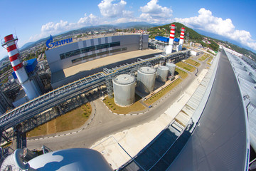 ADLER, RUSSIA - JUNE 26, 2013: Gazprom company, thermal power