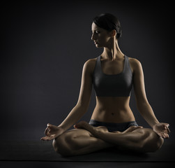 Yoga woman meditate sitting in lotus pose exercise