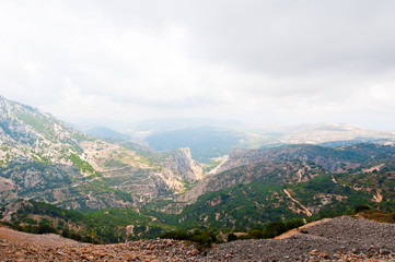View of Psiloritis mountains on the island of Crete in Greece.